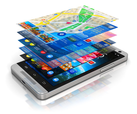 Foto de Creative abstract mobility, wireless communication and app downloading internet web business concept: modern metal black glossy touchscreen smartphone with group of colorful application screen interfaces with color icons and buttons isolated on white back - Imagen libre de derechos