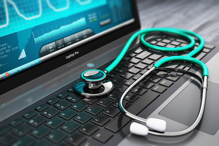 Photo for Creative abstract healthcare, medicine and cardiology tool concept: laptop or notebook computer PC with medical cardiologic diagnostic test software on screen and stethoscope on black wooden business office table with selective focus effect - Royalty Free Image