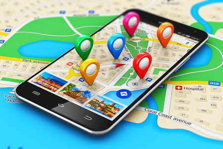 Foto de macro view of modern black glossy touchscreen smartphone or mobile phone with wireless navigator map service internet application on screen and group of colorful destination pointer marker icons on city map with selective focus effect - Imagen libre de derechos