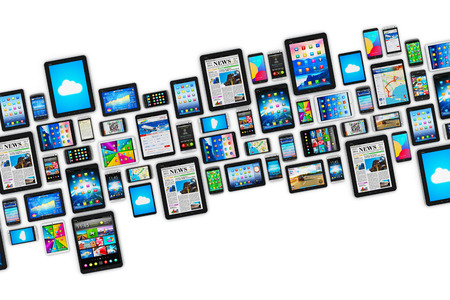 Foto de group of tablet computer PC and modern touchscreen smartphones or mobile phones with colorful display screen interfaces with icons and buttons isolated on white background - Imagen libre de derechos
