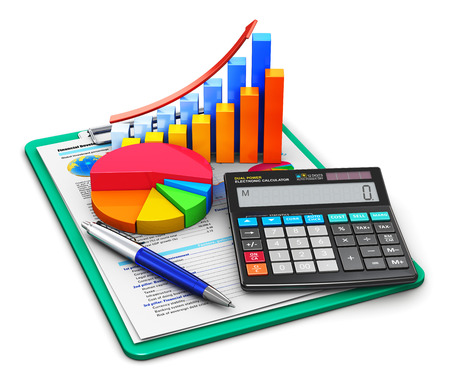 Foto de Creative abstract business finance, tax, accounting, banking, statistics and money analytic research concept: office electronic calculator, bar graph and pie diagram and pen on financial reports in clipboard with colorful data isolated on white background - Imagen libre de derechos