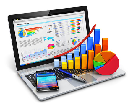 Foto de Creative abstract mobile office, stock exchange market trading, statistics accounting, financial development and banking business concept: modern laptop or notebook computer PC with stock market application software, growth bar chart, pie diagram, ballpoi - Imagen libre de derechos