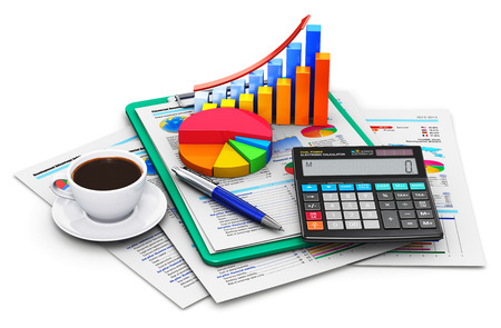 Foto de Creative abstract business finance, tax, accounting, banking, statistics and money analytic research concept: office electronic calculator, bar graph and pie diagram, cup of fresh hot coffee drink and pen on financial reports in clipboard with colorful da - Imagen libre de derechos