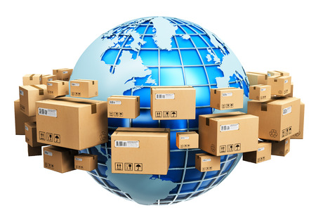 Foto de Creative abstract global logistics shipping and worldwide delivery business concept: blue Earth planet globe surrounded by heap of stacked corrugated cardboard boxes with parcel goods isolated on white background - Imagen libre de derechos