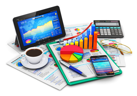 Photo pour Creative abstract mobile office stock exchange market trading statistics accounting financial development and banking business concept: modern tablet computer PC and black glossy touchscreen smartphone or mobile phone with stock market application softwar - image libre de droit