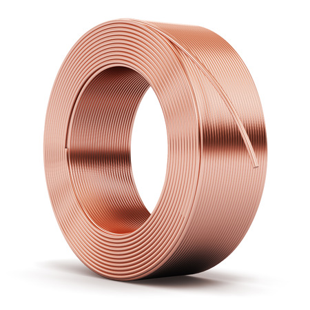 Foto de Creative abstract heavy non-ferrous metallurgical industry and industrial manufacturing business production concept: hunk of shiny metal copper electrical power wire cable isolated on white background - Imagen libre de derechos