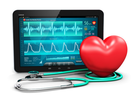 Foto de Creative abstract cardiology healthcare medicine and heart health disease medical tool technology concept: tablet computer PC with cardiologic diagnostic test software on screen stethoscope and red heart shape isolated on white background - Imagen libre de derechos