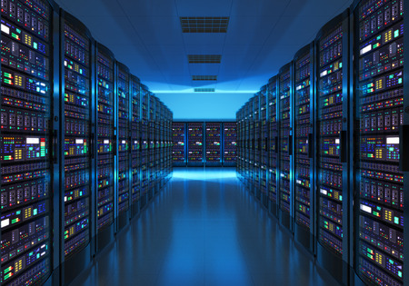 Foto de Modern web network and internet telecommunication technology, big data storage and cloud computing computer service business concept: server room interior in datacenter in blue light - Imagen libre de derechos