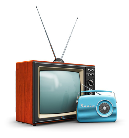 Foto de Creative abstract communication media and vintage television business concept: old retro color wooden home TV receiver set with antenna and blue plastic analog radio receiver isolated on white background - Imagen libre de derechos