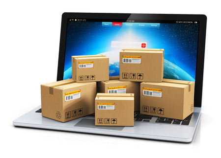 Photo pour Creative abstract shipping, delivery and logistics technology business industrial concept: heap of stacked corrugated cardboard package boxes on computer PC laptop notebook keyboard isolated on white background - image libre de droit