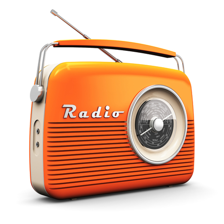 Foto de Old orange vintage retro style radio receiver isolated on white background - Imagen libre de derechos