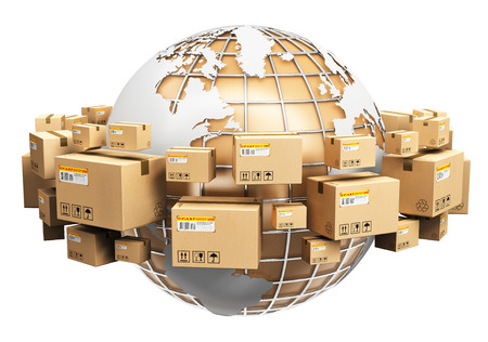 Foto de Creative abstract global logistics, shipping and worldwide delivery business concept: Earth planet globe surrounded by heap of stacked corrugated cardboard boxes with parcel goods isolated on white background - Imagen libre de derechos
