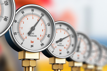 Foto per Creative abstract oil and gas fuel manufacturing industry business concept: 3D render illustration of the row of metal steel high pressure gauge meters or manometers with brass fittings on tubing pipeline at LNG or LPG natural gas distribution station pla - Immagine Royalty Free