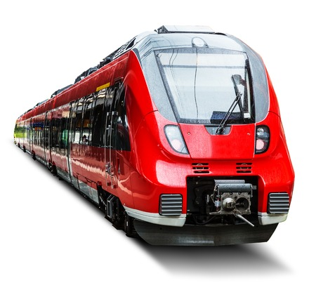 Photo for Creative abstract railroad travel and railway tourism transportation industrial concept: red modern high speed passenger commuter train isolated on white background - Royalty Free Image