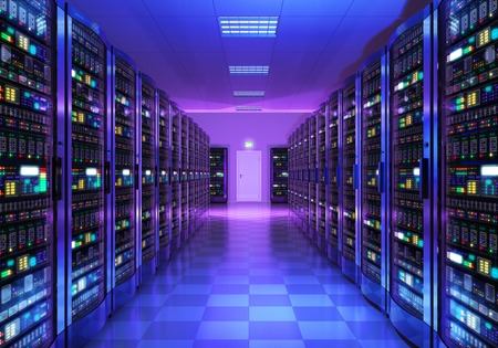 Photo pour Modern web network and internet telecommunication technology, big data storage and cloud computing computer service business concept: 3D render illustration of the server room interior in datacenter in blue light - image libre de droit