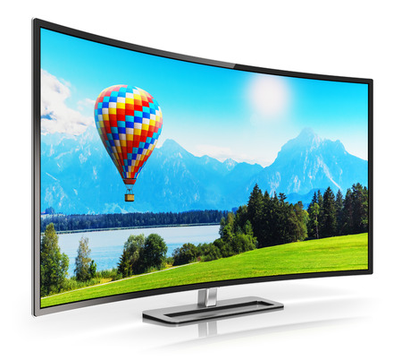 Photo pour Creative abstract ultra high definition digital television screen technology concept: 3D render illustration of curved OLED 4K UltraHD TV or computer PC monitor display with colorful picture nature landscape isolated on white background with reflection ef - image libre de droit