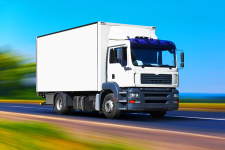 Photo for Creative abstract shipping industry, logistics transportation and cargo freight transport industrial business commercial concept: white delivery truck or container auto car trailer on road, way or highway with high speed motion blur effect - Royalty Free Image