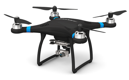 Foto de Creative abstract 3D render illustration of professional remote controlled wireless black RC quadcopter drone with 4K video and photo camera for aerial photography isolated on white background - Imagen libre de derechos