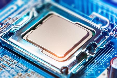 Foto de Macro view of CPU socket on PC computer motherboard - Imagen libre de derechos