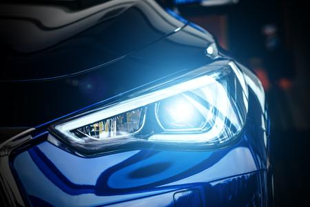 Foto de Macro view of modern blue car xenon lamp headlight - Imagen libre de derechos