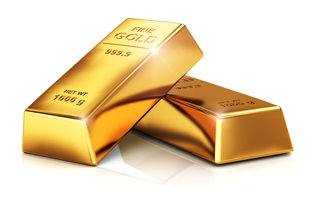 Photo pour Creative abstract business success, financial growth, banking, accounting and stock exchange trade market corporate concept: stack of shiny gold ingots, bars or bullions isolated on white background - image libre de droit