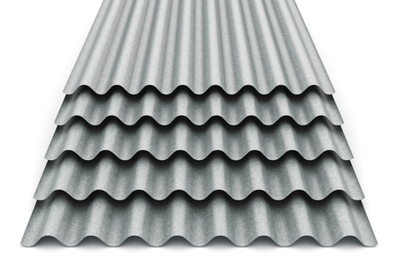 Foto de Creative abstract 3D render illustration of the stack or group of stacked metal steel zinc-plated or galvanized wave shaped profile sheets for roof and roofing construction industry isolated on white background - Imagen libre de derechos