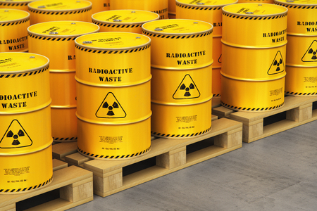 Photo for Creative abstract nuclear power fuel manufacturing, disposal and utilization industry concept: 3D render illustration of the group of yellow metal barrels, drums or containers with poison dangerous hazardous radioactive materials on wooden shipping pallets in the industrial storage warehouse with selective focus effect - Royalty Free Image