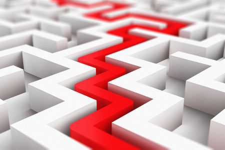 Foto de Creative abstract success, perspective vision, marketing, strategy, finding solution and motivation business communication concept: 3D render illustration of the red path across endless white labyrinth - Imagen libre de derechos
