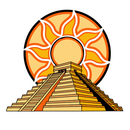 Illustration for Mayan or Aztec Temple with Sun-Fire Background - Royalty Free Image