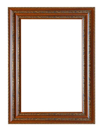 Photo pour Ancient wooden frame isolated on white background. - image libre de droit