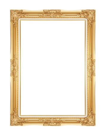Photo for Old Antique Gold frame Isolated Decorative Carved Wood Stand Antique Gold Frame Isolated On White Background - Royalty Free Image