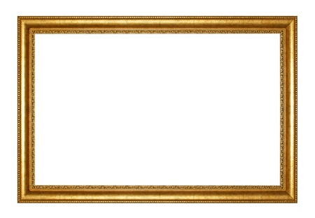 Photo for Old Antique gold  frame Isolated Decorative Carved Wood Stand Antique Black  Frame Isolated On White Background - Royalty Free Image