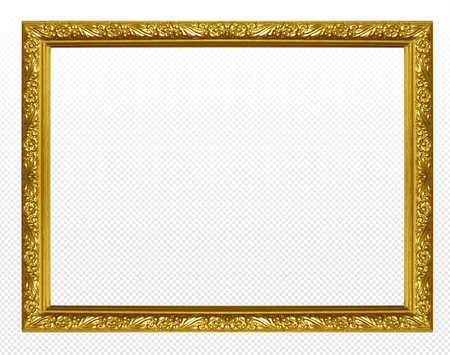 Photo for Golden wooden frame isolated on transparent background. - Royalty Free Image