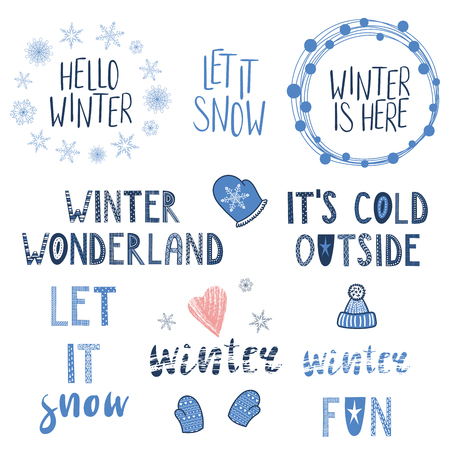 Ilustración de Collection of different winter, snow quotes, typographic elements, with hand drawn mittens, snowflakes. Isolated objects on white background. Vector illustration. Design concept season change. - Imagen libre de derechos
