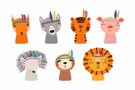 Illustration pour Set of cute funny little tribal animals lion, tiger, wolf, sloth, hedgehog, pig, squirrel. Isolated objects on white. Vector illustration. Scandinavian style flat design. Concept for children print - image libre de droit