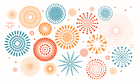 Illustration pour Colorful fireworks on white background. Vector illustration. Flat style design. Concept for holiday banner, poster, flyer, greeting card, decorative element. - image libre de droit
