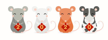 Illustration pour Hand drawn vector illustration of cute little rats holding cards with numbers 2020. Isolated objects on white background. Design element for Chinese New Year greeting card, holiday banner, decor. - image libre de droit