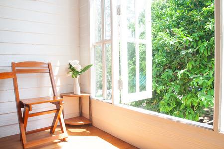 Foto de Big window garden view in country home - Imagen libre de derechos