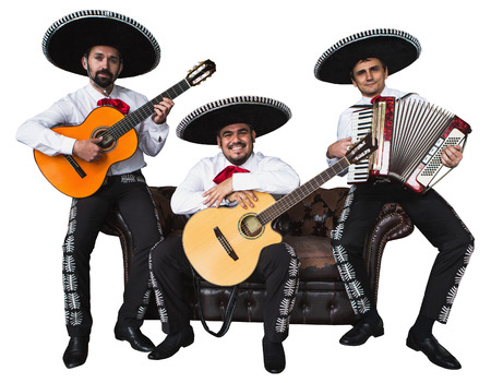 Photo pour Mexican musicians mariachi band. Isolated on white background - image libre de droit