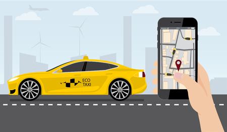 Ilustración de Hand with phone. On the device screen application for ordering a taxi. In the background, an electric car with a logo eco taxi. Vector illustration - Imagen libre de derechos