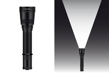 Ilustración de Realistic waterproof flashlight for hunting and travel. Vector illustration. - Imagen libre de derechos