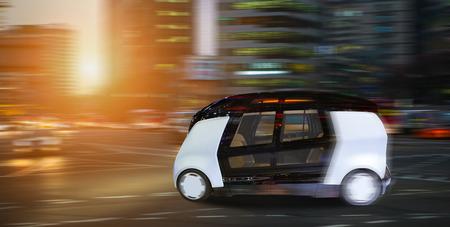 Foto de Autonomous self driving smart bus on city street. - Imagen libre de derechos