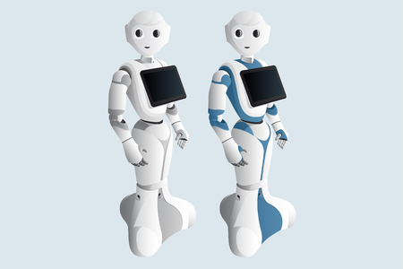 Illustration pour Realistic robot consultant with digital tablet isolated on blue background. Vector illustration - image libre de droit