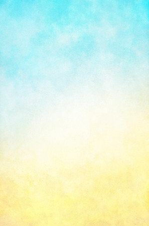 Photo for A textured fog and cloud background with a bright, high-key blue to yellow gradient.  Images displays a paper grain and texture at 100 percent. - Royalty Free Image