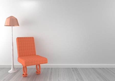 Chair with lamp in living room. 3D rendering.