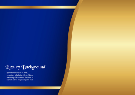 Ilustración de Abstract blue background in premium concept with golden border. Template design for cover, business presentation, web banner, wedding invitation and luxury packaging. - Imagen libre de derechos