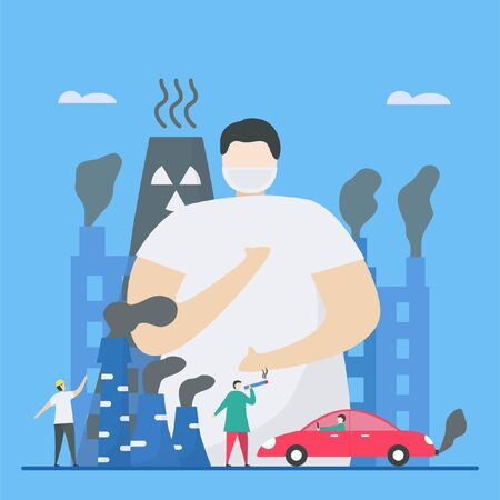 Illustration pour Air pollution, such as PM2.5 and PM10, causes danger to people. This problem can make people died because stroke, heart disease, lung cancer. Vector illustration for World Environment Day.. - image libre de droit