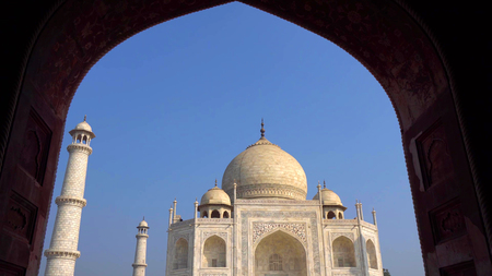 Photo for The Taj Mahal is an ivory-white marble mausoleum on the south bank of the Yamuna river in the Indian city of Agra, Uttar Pradesh. - Royalty Free Image