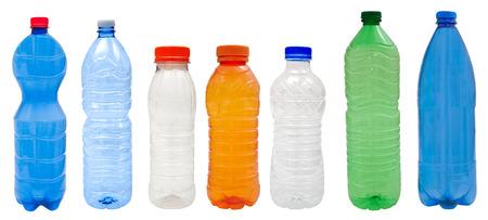 Photo pour Multicolored   Plastic bottles isolated on white  - image libre de droit