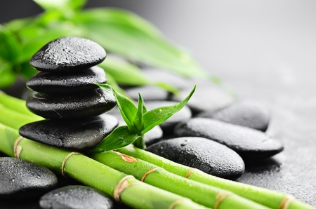 Photo for zen basalt stones and bamboo with dew - Royalty Free Image